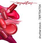 broken lipsticks closeup and...   Shutterstock .eps vector #789704704