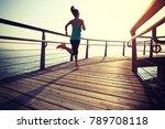 sporty fitness female runner... | Shutterstock . vector #789708118