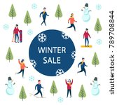 end of season winter sale.... | Shutterstock .eps vector #789708844