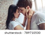 beautiful young couple at home. ... | Shutterstock . vector #789710530
