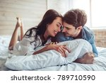 beautiful young couple in... | Shutterstock . vector #789710590