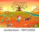 friendship between a boy ... | Shutterstock .eps vector #789713020