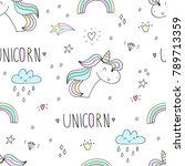 cute hand drawn unicorn pattern.... | Shutterstock . vector #789713359