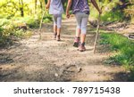 children hiking in mountains or ... | Shutterstock . vector #789715438