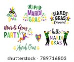 mardi gras. big set of vector... | Shutterstock .eps vector #789716803