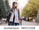 brunette young caucasian woman... | Shutterstock . vector #789717208