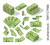 cartoon money bills. green... | Shutterstock .eps vector #789717988