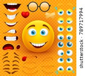 cartoon yellow 3d smiley face... | Shutterstock .eps vector #789717994