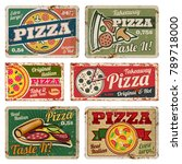 vintage pizza metal signs with... | Shutterstock .eps vector #789718000