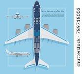 aircraft seats plan top view.... | Shutterstock .eps vector #789718003