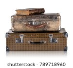vintage leather suitcases with... | Shutterstock . vector #789718960