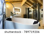 luxury bathroom with bathtub... | Shutterstock . vector #789719206