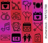 valentine's day vector icon set ... | Shutterstock .eps vector #789722788
