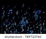 blue flying musical notes... | Shutterstock .eps vector #789723760