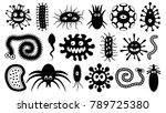 microorganisms under the... | Shutterstock .eps vector #789725380