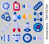 icon set about car engine with... | Shutterstock .eps vector #789725704