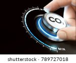 man turning a carbon dioxide... | Shutterstock . vector #789727018