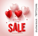 Stock vector valentines day sale vector design with red heart shape balloons in white background for valentines 789731446