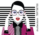 fashion woman in style pop art. ... | Shutterstock .eps vector #789738700
