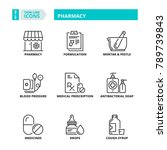 line icons about pharmacy | Shutterstock .eps vector #789739843