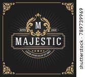 vintage luxury monogram banner... | Shutterstock .eps vector #789739969