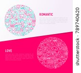 romantic concept in circle with ... | Shutterstock .eps vector #789740620