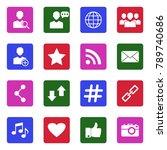social media icons. white flat...