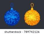 pompon soft balls. vector... | Shutterstock .eps vector #789742126