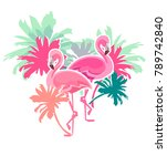flamingo vector illustration ... | Shutterstock .eps vector #789742840