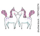 cute hand drawn unicorns in...   Shutterstock .eps vector #789743374