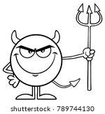 black and white devil cartoon... | Shutterstock .eps vector #789744130