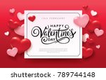 happy valentine's day romance... | Shutterstock .eps vector #789744148