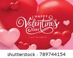 happy valentine's day romance... | Shutterstock .eps vector #789744154