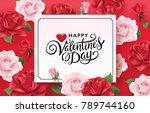 happy valentine's day romance... | Shutterstock .eps vector #789744160