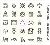 baby line icons set teddy and...