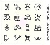 baby line icons set dummy and... | Shutterstock .eps vector #789750388