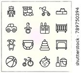 baby line icons set walkie and... | Shutterstock .eps vector #789750394
