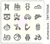 baby line icons set robot and... | Shutterstock .eps vector #789750568
