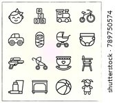 baby line icons set baby and... | Shutterstock .eps vector #789750574
