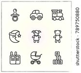 baby line icons set car and doll | Shutterstock .eps vector #789750880