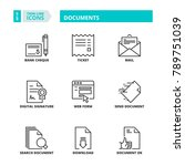 line icons about documents | Shutterstock .eps vector #789751039