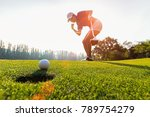 Sport healthy. golfing game....