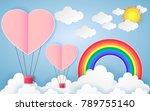 card valentine's day balloon... | Shutterstock .eps vector #789755140