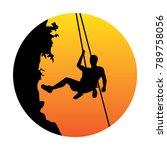 free climber and sunset logo | Shutterstock .eps vector #789758056