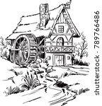 old water mill sketch | Shutterstock .eps vector #789766486