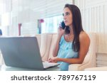 young woman talking on mobile... | Shutterstock . vector #789767119