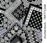 black and white  bandanna ... | Shutterstock .eps vector #789771268