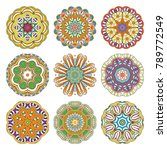 flower vector mandalas set.... | Shutterstock .eps vector #789772549