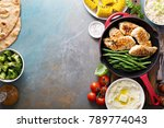 big summer dinner with grilled... | Shutterstock . vector #789774043