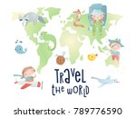 set of cartoon elements on the... | Shutterstock .eps vector #789776590